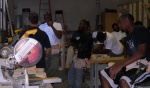 Learning angle cuts in carpentry class