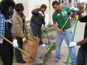 Students cleaning up for Make a Difference Day