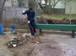 Cleaning the Point Breeze playground