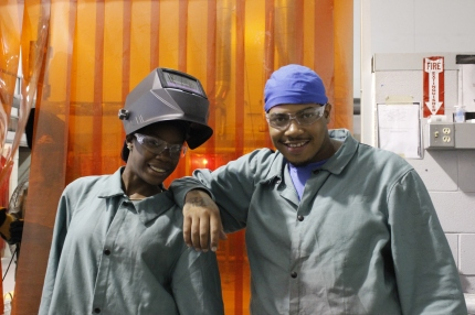 Students sporting protective gear
