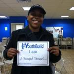 Brittany reps YouthBuild in her Starbucks barista cap.  She reports that Starbucks is a supportive environment, just like YouthBuild.